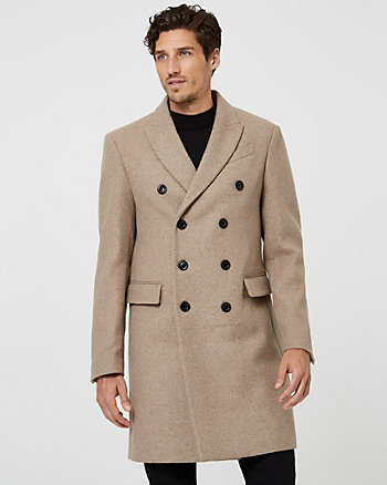 Melton Wool Blend Notch Collar Topcoat