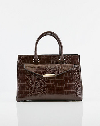 Croco Embossed Faux Leather Tote