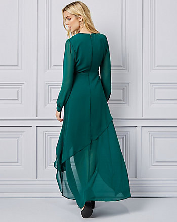 Wrap Chiffon Long Sleeve Gown