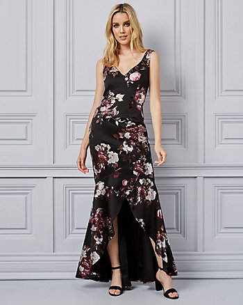 05f92985463b Floral Print Foil Knit V-Neck Gown Made ...