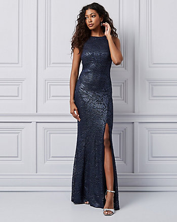 Foil Lace Halter Gown