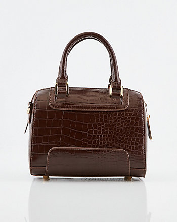 Croco Embossed Faux Leather Barrel Bag