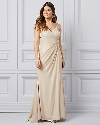 Embroidered Foil Chiffon Wrap-Like Gown