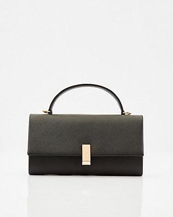 Saffiano Faux Leather Crossbody Bag