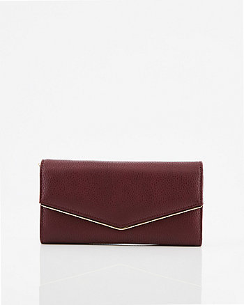 Pebbled Faux Leather Flapover Wallet