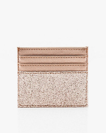 Glitter Faux Leather Card Holder