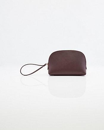 Saffiano Faux Leather Cosmetics Pouch