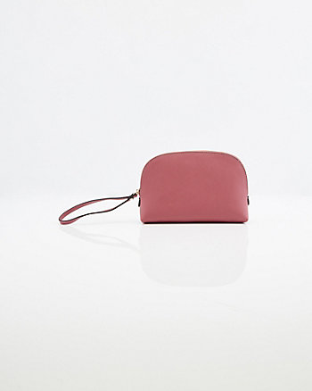Saffiano Faux Leather Cosmetics Pouch