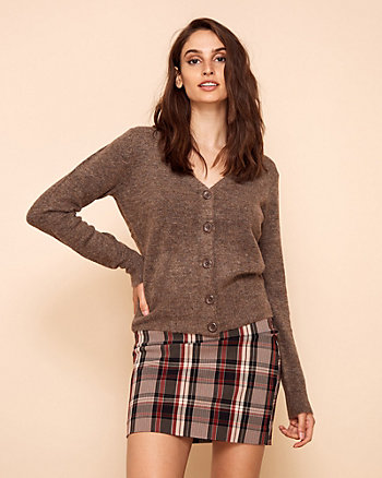 Knit Button-Front V-Neck Cardigan