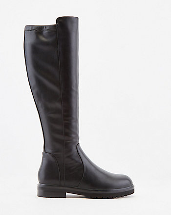 Stretch Faux Leather Knee-High Boot