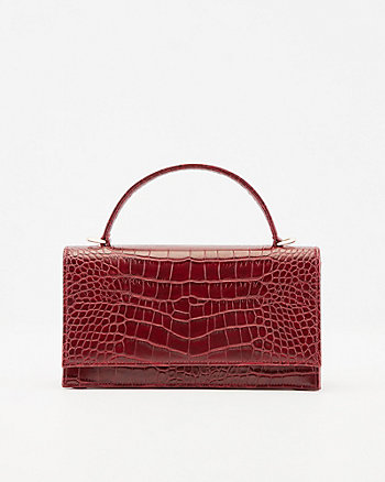Croco Embossed Faux Leather Clutch
