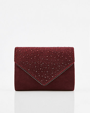 Gem & Faux Suede Crossbody Bag
