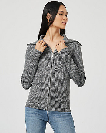 Rib Knit Zip-Front Sweater