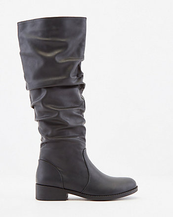 Ruched Faux Leather Knee High Boot