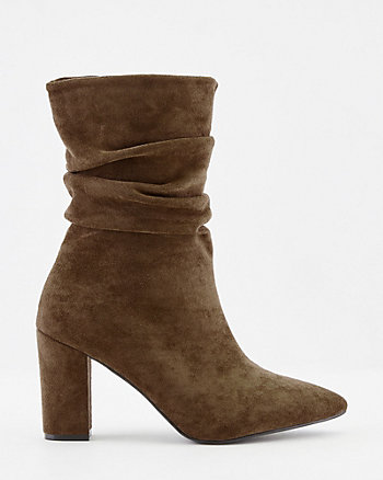Faux Suede Pointy Toe Mid-Calf Boot