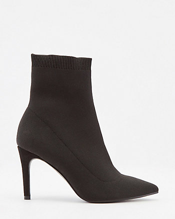 Stretch Knit Pointy Toe Ankle Sock Boot