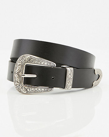 Faux Leather Western Belt