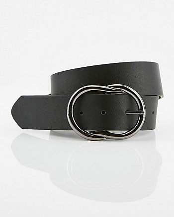 Double O Faux Leather Belt