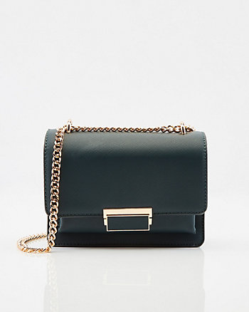 Saffiano Faux Leather Crossbody Bag