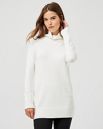 Brushed Viscose Turtleneck Tunic Sweater