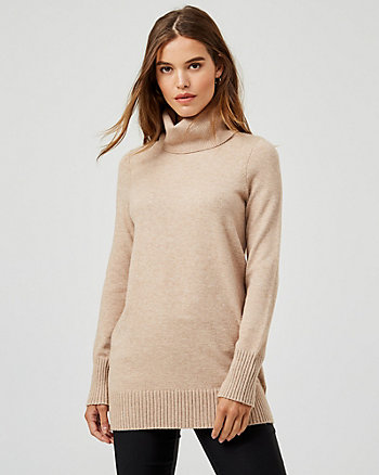 Brushed Viscose Turtleneck Tunic Sweater