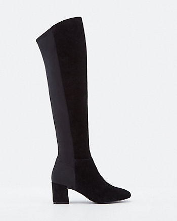 Suede Almond Toe Knee High Boot