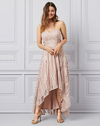 Embroidered Tulle Strapless High-Low Gown