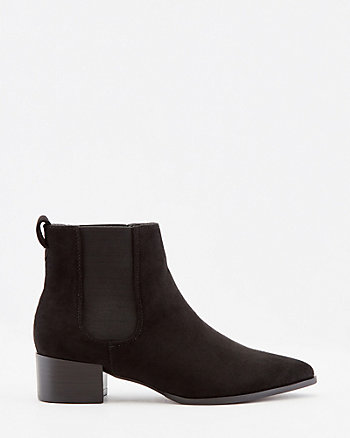 Faux Suede Pointy Toe Chelsea Boot