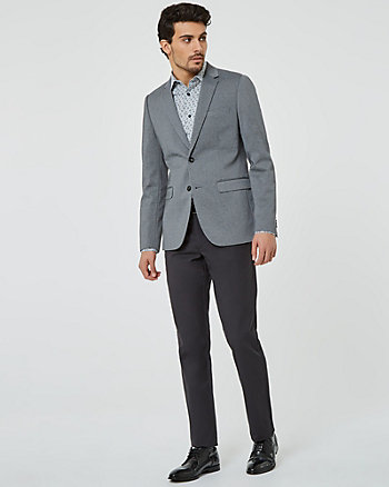 Knit Notch Collar Slim Fit Blazer