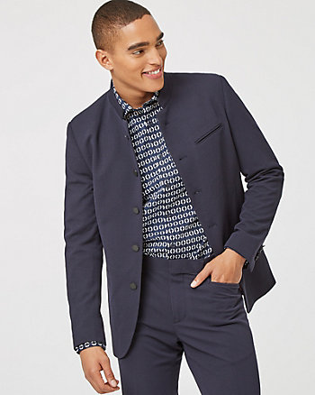 Quilted Knit Convertible Collar Blazer