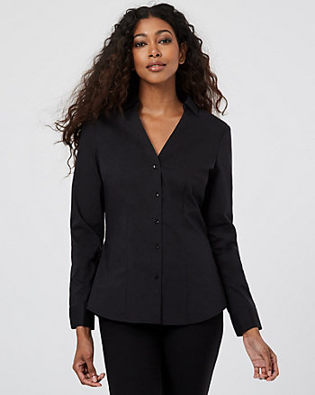 Stretch Cotton Poplin Button-Front Blouse
