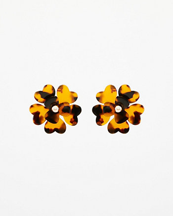 Tortoise Flower Stud Earrings