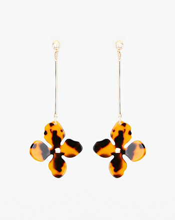 Tortoise Flower Drop Earrings
