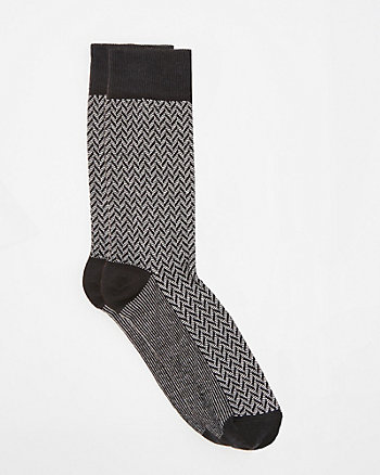 Herringbone Cotton Blend Socks