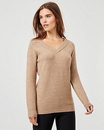 Knit V-Neck Long Sleeve Sweater