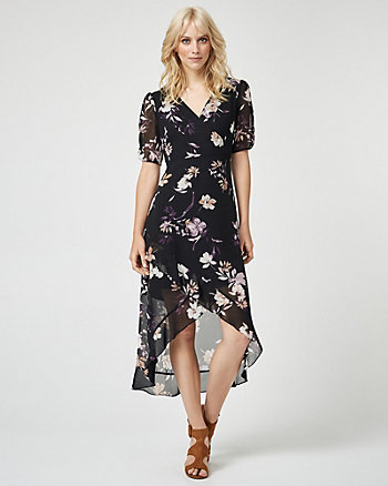 Floral Print Chiffon V-Neck Maxi Dress
