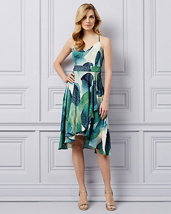 Abstract Print V-Neck Dress