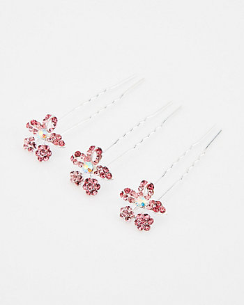 Set of Three Flower Gem Bobby Pins