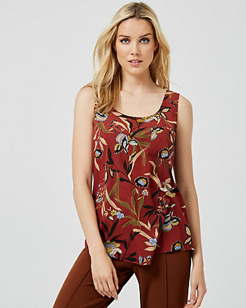 Floral Print Scoop Neck Tank Top