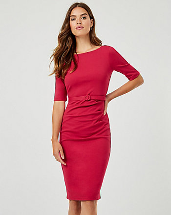 Belted Ponte Knit Boat Neck Dress