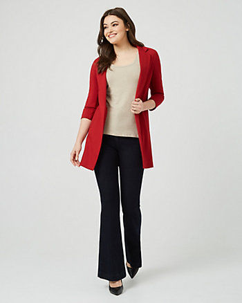 Ponte Knit Relaxed Fit Longline Blazer