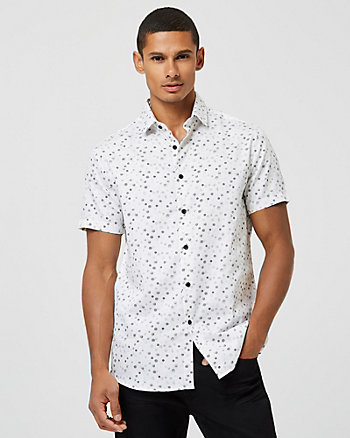 Geo Print Cotton Sateen Tailored Fit Shirt