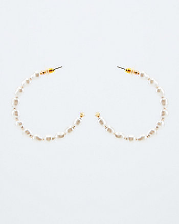 Pearl-Like Embellished Hoops