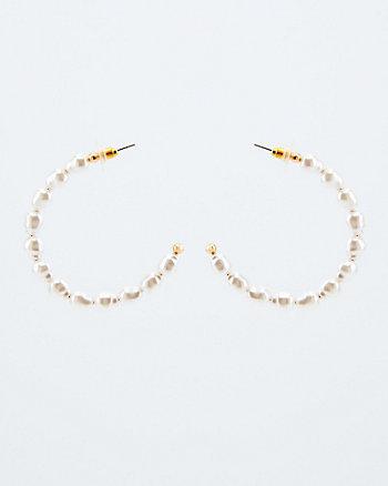 Pearl-Like Embellished Hoops