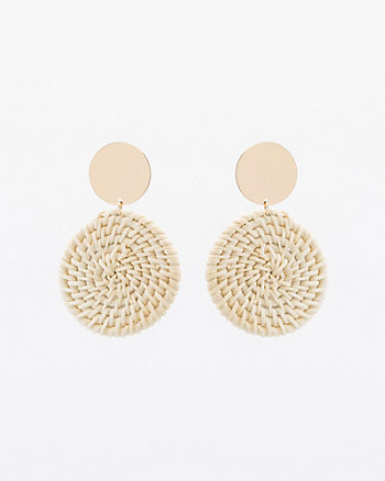 Straw & Metal Circular Drop Earrings