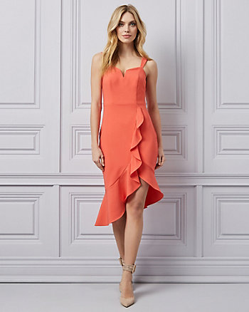 Bi-Stretch Sweetheart Neckline Ruffle Dress