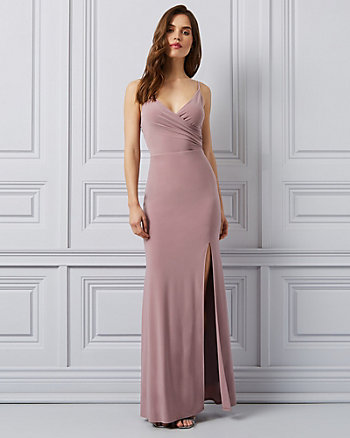 Knit Wrap-Like V-Neck Gown