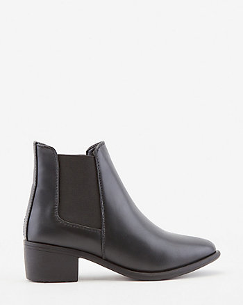 Faux Leather Round Toe Chelsea Boot
