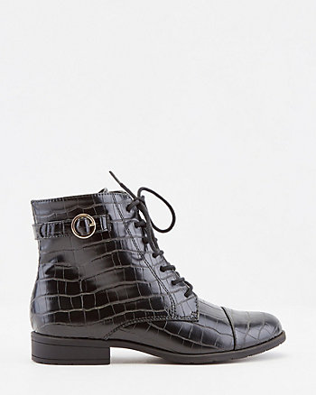 Croco Embossed Faux Leather Ankle Boot