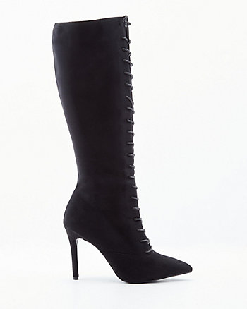 Faux Suede Pointy Toe Knee-High Boot